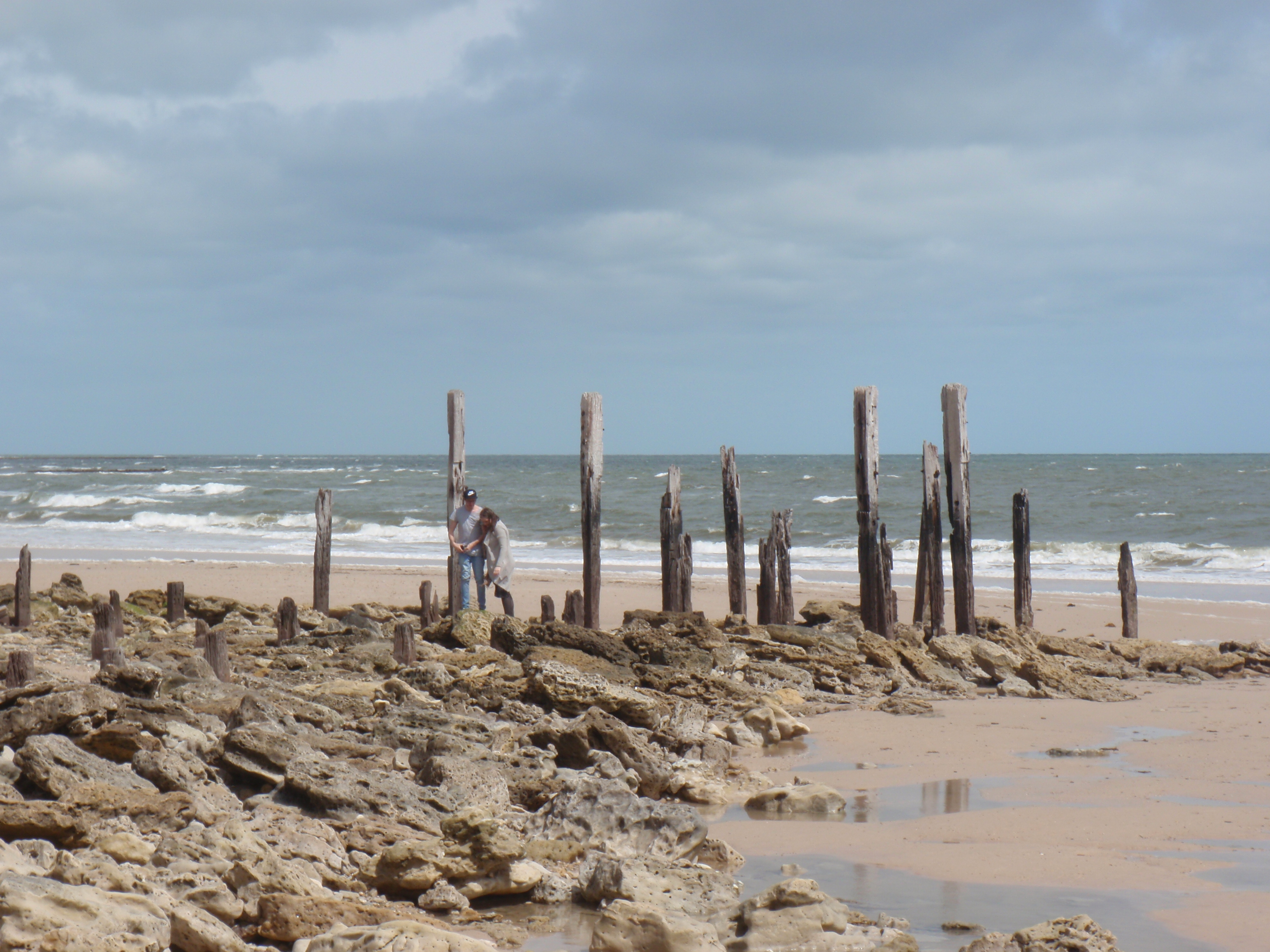 The exposed remains of the original port willunga jetty for Port willunga